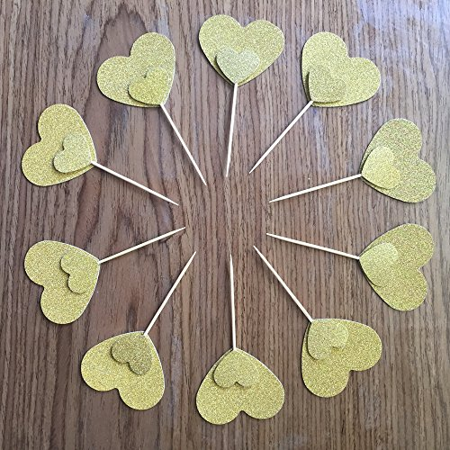 TooMeeCrafts Double Sided Gold Heart Cake Topper Cupcake Topper Wedding Cupcake Toppers, Bridal Shower Cupcake Toppers Valentine's Day Cupcake Topper Cupcake Decor Set of 18