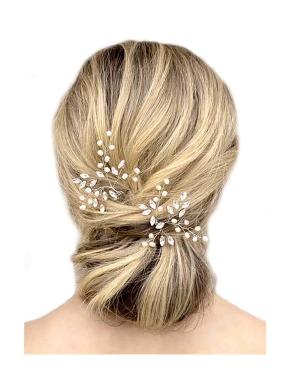 Unicra Wedding Silver Hair Pins Wedding Bridal Pearl Hair Accessories for Brides and Bridesmaids Pack of 2 (Rose Gold) by Unicra