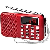 Retekess Portable AM FM Radio Transistor Radio with MP3 Music Player Speaker Support Micro TF Card USB Disk (Red)