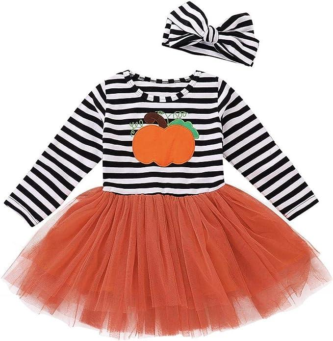 Fossen Disfraz Halloween Niña 2-5 años Tutu Vestidos de Calabaza a ...