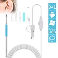 USB Otoscope,ROTEK 1.3 Megapixels 720P HD Ear Endoscope Camera,3 In 1 USB Ear Scope Earwax Remover Tool with 6 LEDs for Micro USB,USB-C Android Phone,Windows MAC PC – 2 Meters