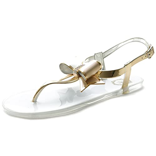 b6cb7f1be04 Ollio Womens Shoe Ribbons Thong Ankle Straps Flip Flop Jelly Sandals 1ML019  (6 B(