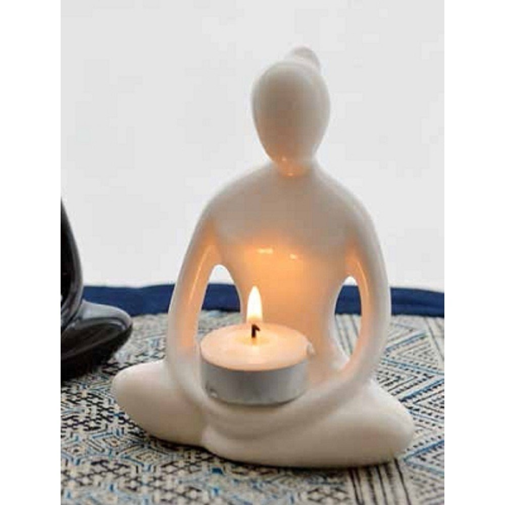 Sitting Pose Yoga Goddess Ceramic Tea Light Candle Holder, White