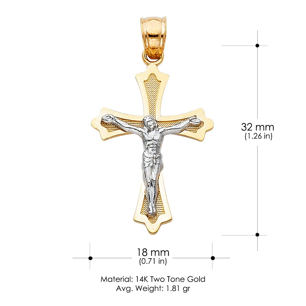 14K Two Tone Gold Jesus Crucifix Cross Pendant with 1.5mm Flat Open Wheat Chain Chain Necklace