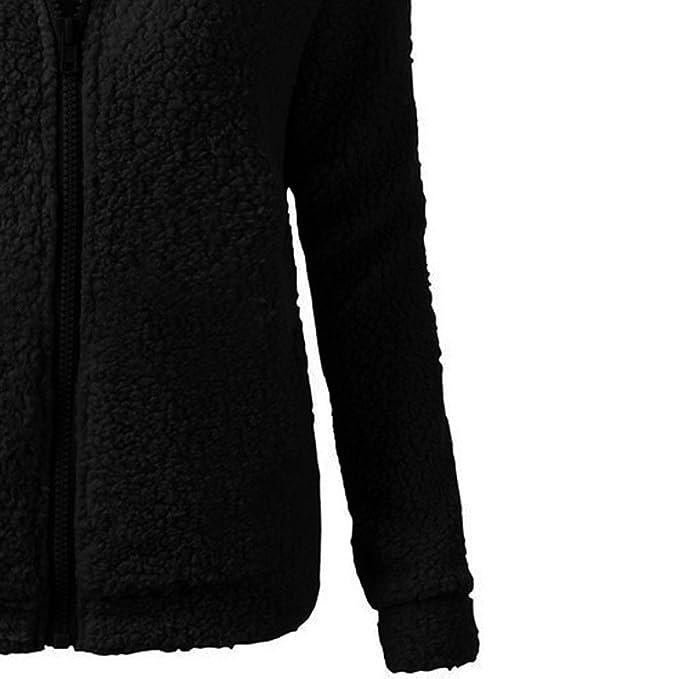 Chaqueta Mujeres de Invierno de Lana Cálida Cremallera Abrigo con Capucha Casual Suéter Abrigo de Algodón Outwear Hoodie riou: Amazon.es: Ropa y accesorios