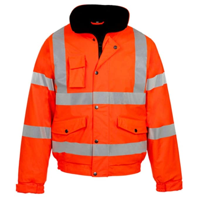 adf6a4ae19 Hi Viz Bomber Jacket Two Tone Reflective Tape Waterproof Quilted Work Jacket  Coat High Vis Visibility Safety Workwear Security Road Works Concealed Hood  ...