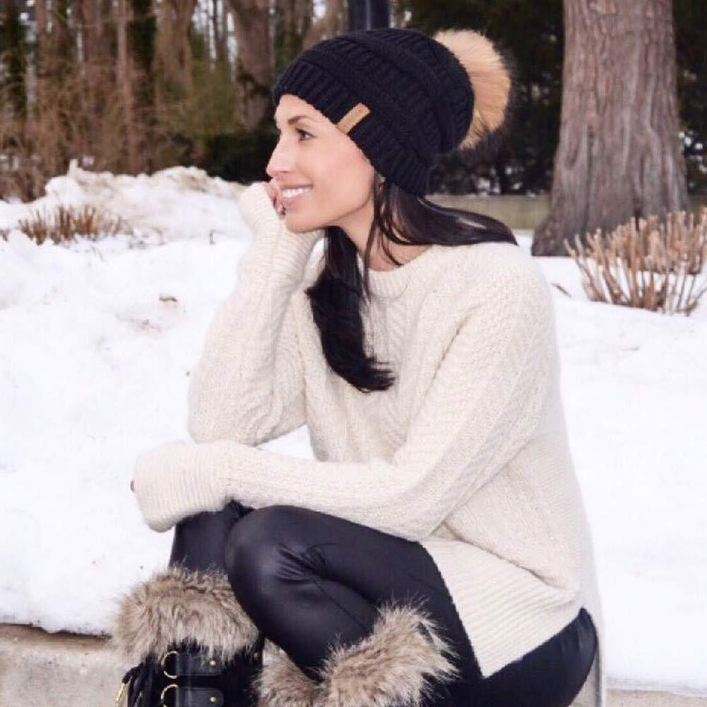 916b86020bb Womens Winter Knit Beanie Hat Slouchy Skull Cap Real Fur Pom Pom Hats Cap  For Girls