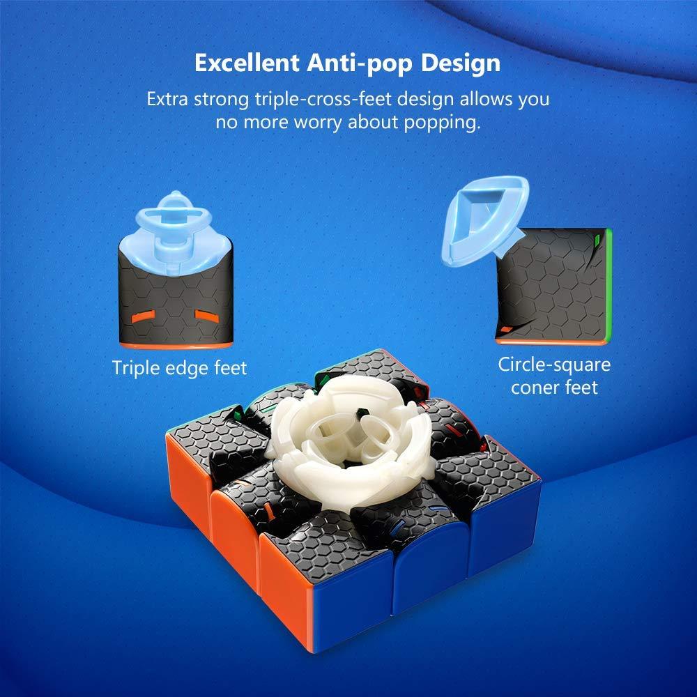 Coogam Gan 356 R Cube de Vitesse 3X3 Gans 356 R Cube Magique sans Autocollant Gan 356R Cube Casse-t/ête GES V3 Syst/ème avec Extra Bleue Pochette