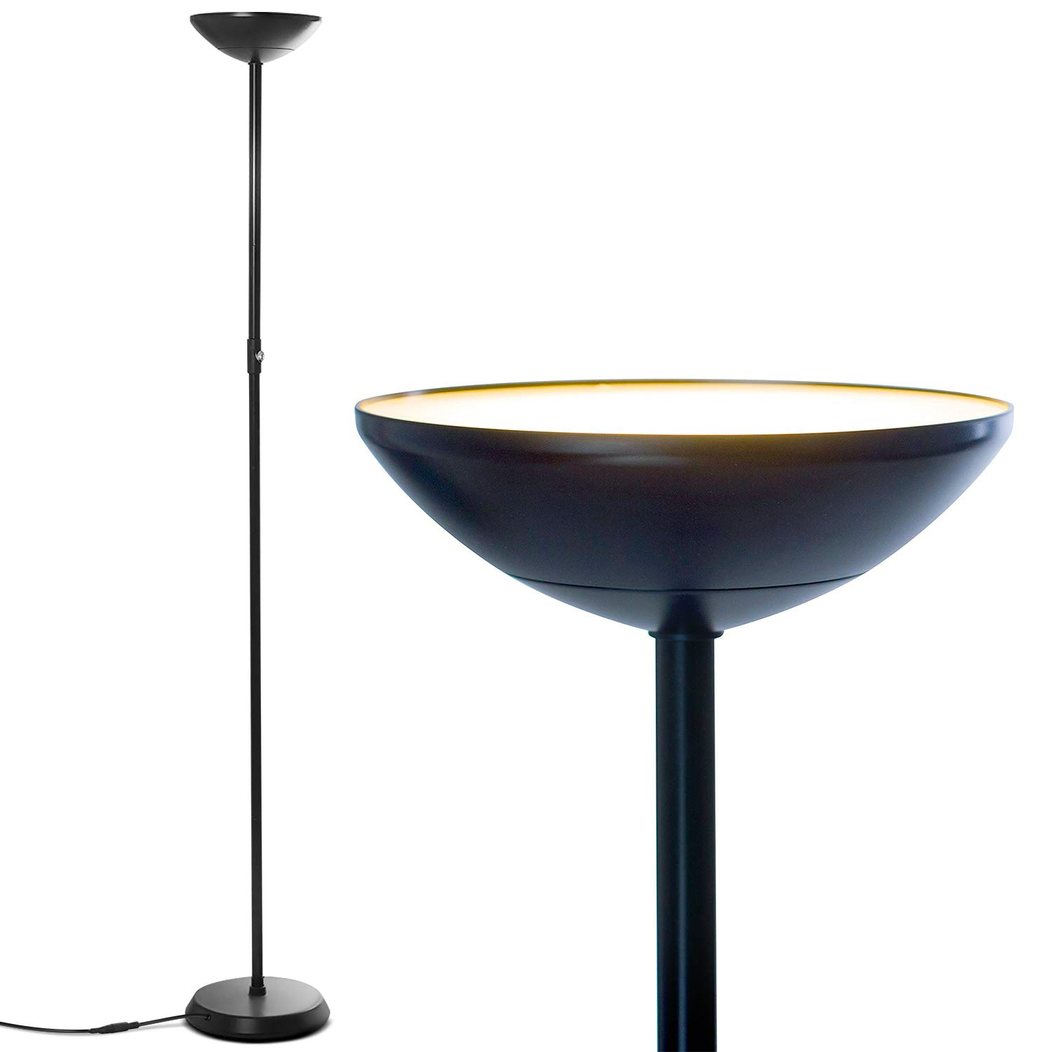 Brightech SkyLite - Bright LED Torchiere Floor Lamp for Offices – Modern, Dimmable Reading Light for Living Rooms & Bedrooms - Tall Standing Pole Light - Jet Black