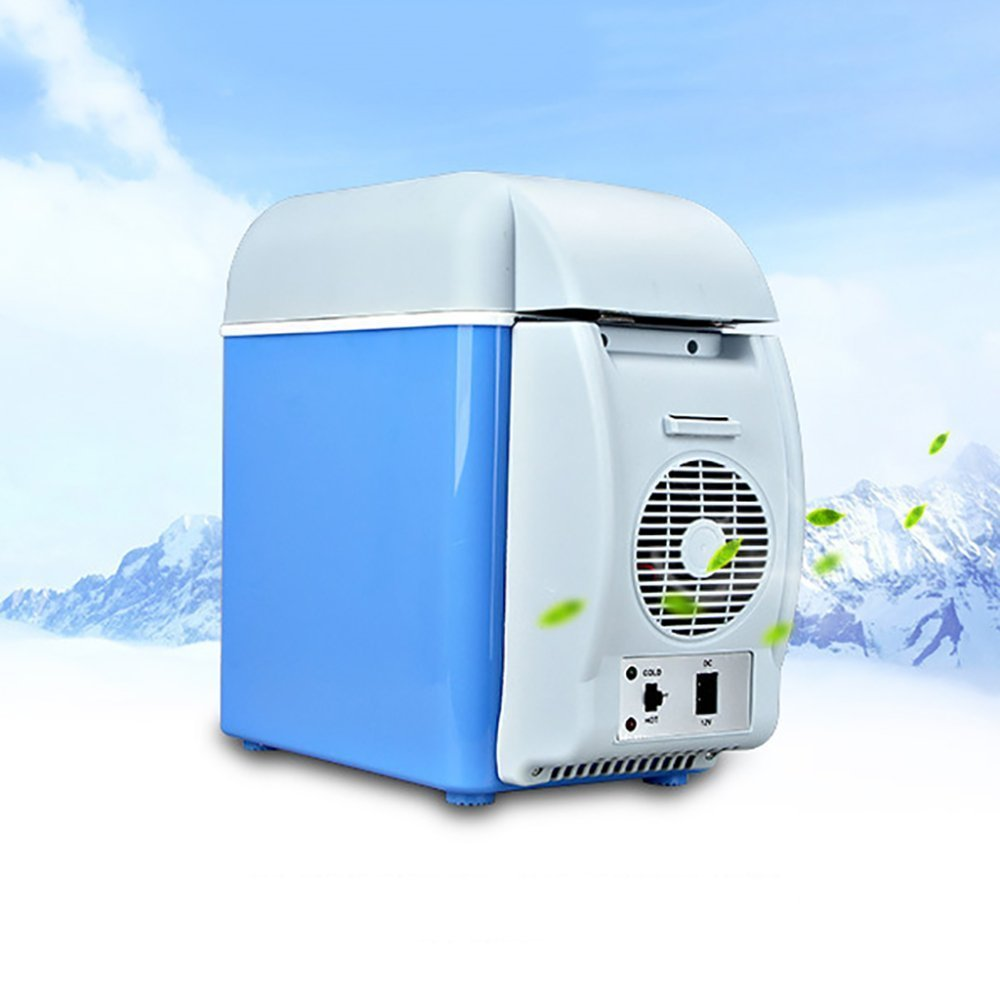CAR REFRIGERATOR 12V 7.5L Capacity Camping Cool Box Portable Car Refrigerator Cooler and Warmer Electric Fridge for Car Truck Travel Boat (Blue)