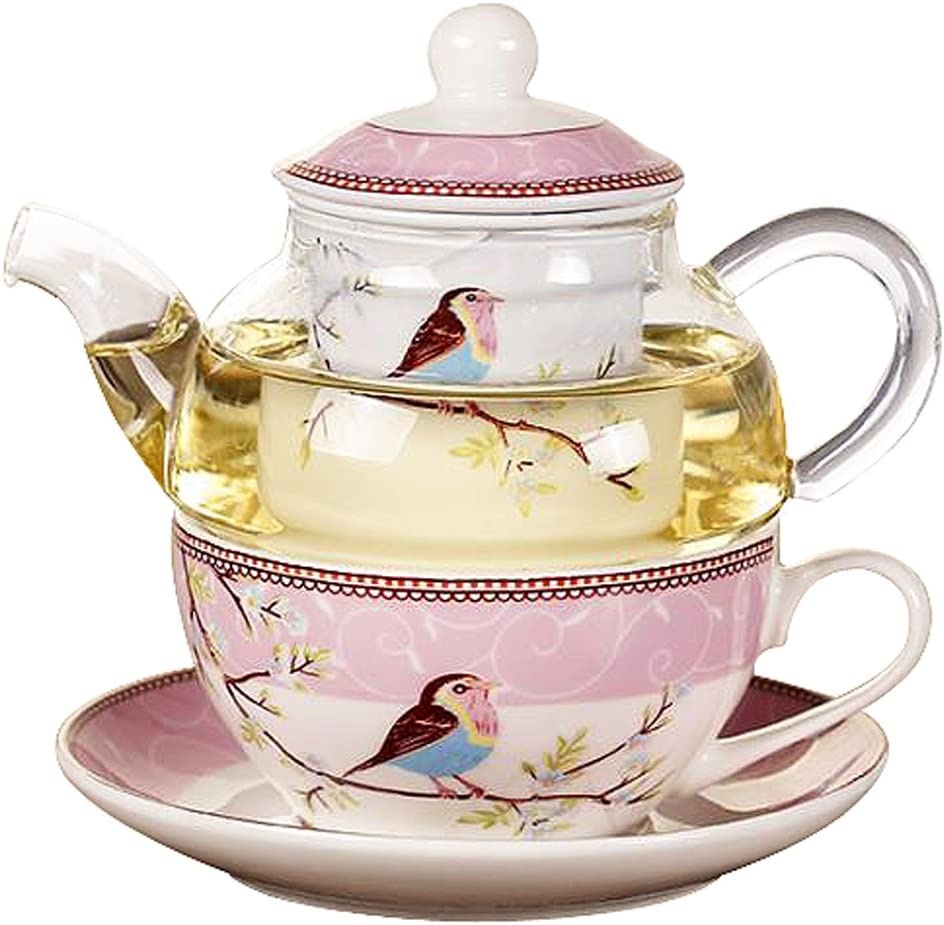 Tea Set Glass Teapot with Cup and Saucer Tea for One Set Wife Anniversary Gift