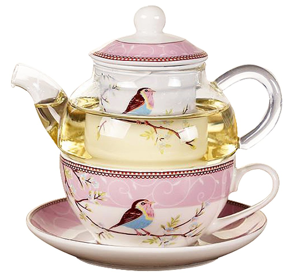 Jusalpha Glass Teapot with a Fine China Infuser Strainer, Cup and Saucer Set,Teapot and Teacup for One, Tea for one #05 (Pink)