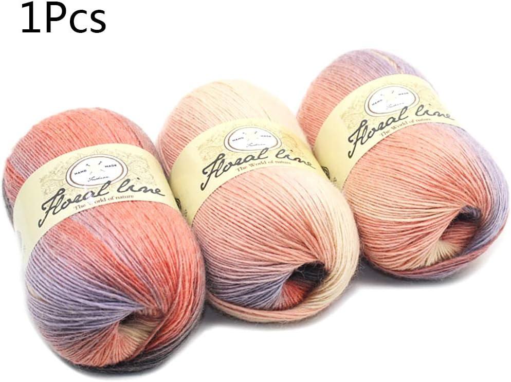 ecmqs hilo de lana–suave hilos peignés colores degradado Multicolor DIY bebé tejer chal de lana bufanda Fournitures de hilo para ganchillo 3