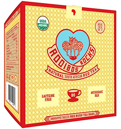 Rooibos Tea Organic Tagless Teabags - 80 Non GMO Naturally Caffeine Free South African Red Bush Herbal Tea Bags By Rooibos Rocks - USDA Organic Rooibos Teas, A Taste of ()
