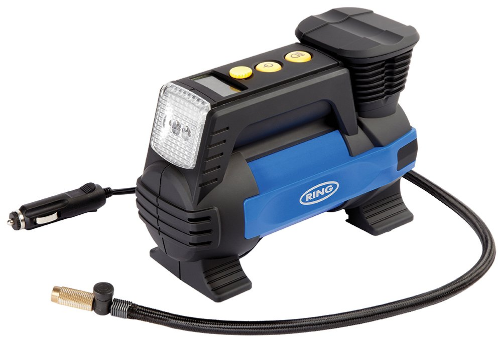 Ring RAC820 12V Fast Flow Tyre Inflator, Preset Function, Adaptor Set and Storage Case