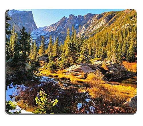 Liili Natural Rubber Mouse Pad Colorful forest in Rocky Mountain National Park in fall with snow and mountains in background Colorado IMAGE ID 20447004