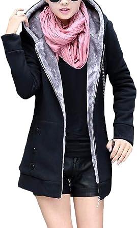 XTX Women Winter Zip Up Cardigans Hooded Thick Pockets Sweatshirts Jacket