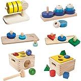 Amazon Basics Montessori Case Pack, Shape Matching Puzzle, Horizontal Stacking, Circle Matching Puzzle, Trio Stacking, Shape