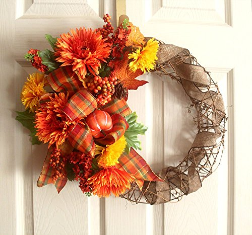 Fall wreath for front door, pumpkin, flowers leaves and berries, 18 inch wreath