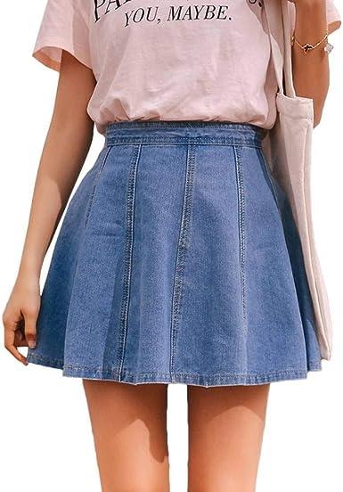 GYYWAN Mini Cintura Alta Falda De Mezclilla Mujer Verano Azul ...