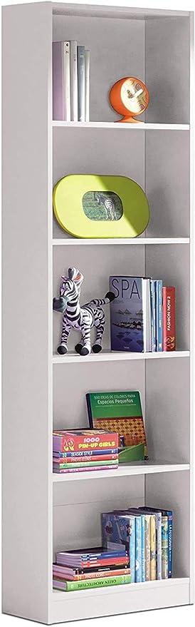 Oferta amazon: Habitdesign 005422A - Estantería Juvenil Dormitorio 6 baldas, librería Vertical Acabado en Color Blanco Artik, Modelo I-Joy, Medidas: 180 cm (Alto) x 52 cm (Ancho) x 25 cm (Fondo)