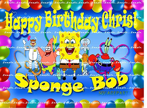 SPONGE BOB SQUAREPANTS : Personalized edible image Birthday Cake topper premium frosting sheets