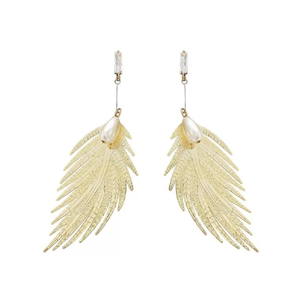 Large Feather Earring Motif Gold Plated Long Dangle Gold Link Leaf Drop Earring For Girls Women, Flight(gold)