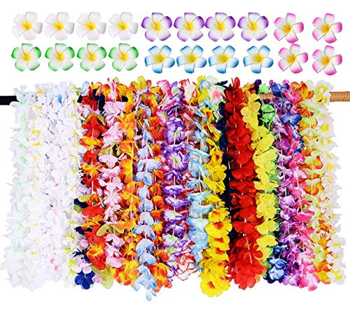 (Hawaiian Leis Bulk 36Ct Hawaiian Flower Lei with 24Ct Hawaiian Plumeria Flower Clips Set Tropical Luau Party Supplies Beach Party Decoration for Adult Kids)