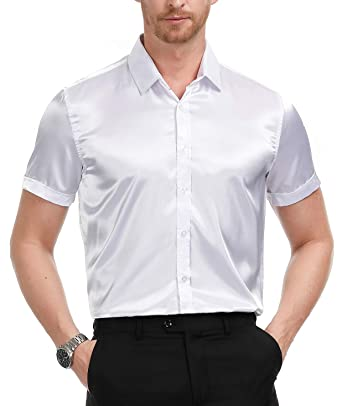 6183ed731 Men's Short Sleeve Shiny Silk Like Satin Dance Prom Luxury Dress Shirt White,  ...
