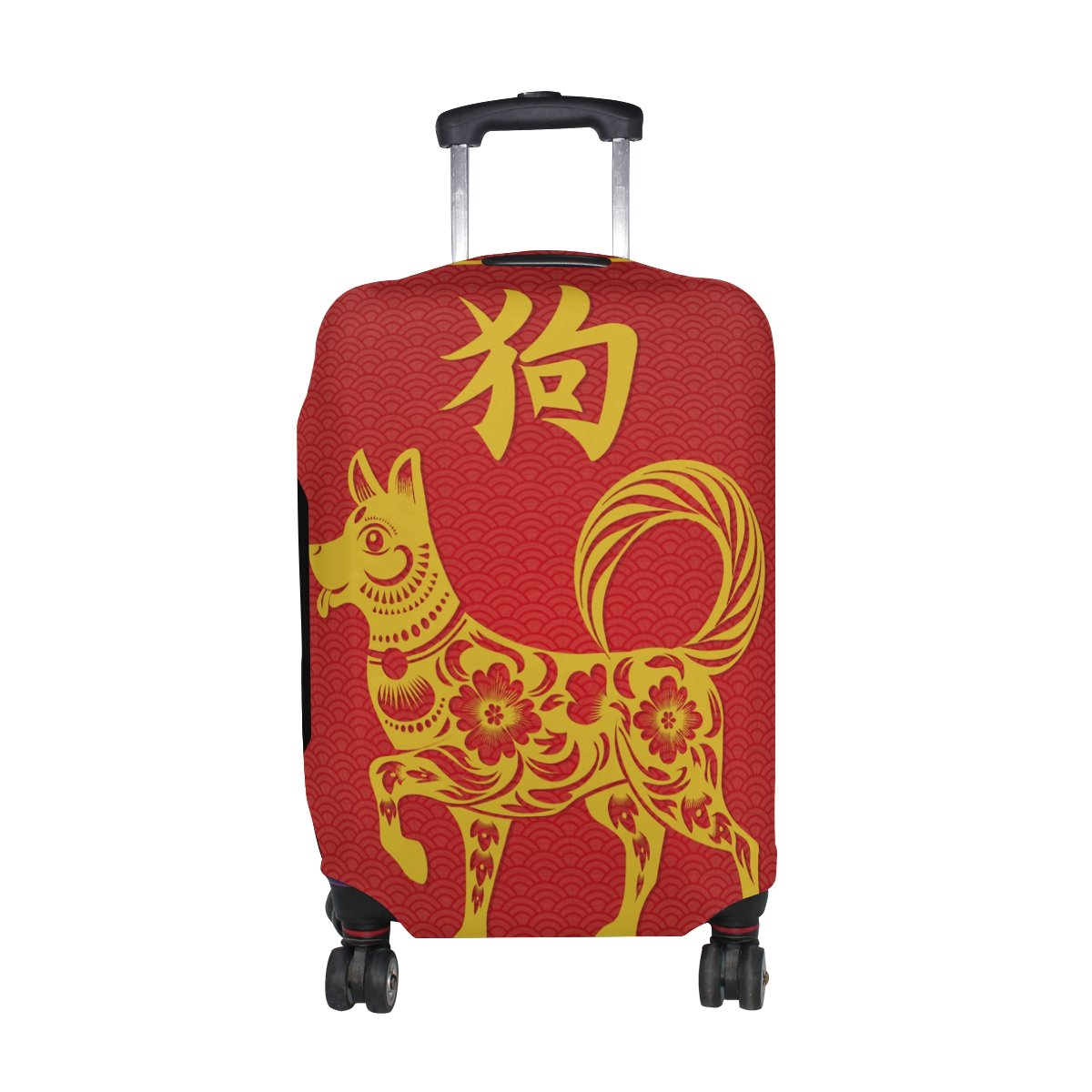 Happy Chinese New Year 2018 Of The Dog Travel Luggage Protector Baggage Suitcase Cover Fits 26-28 Inch Luggage