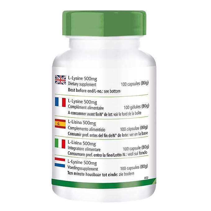 L-Lisina 500mg - Altamente dosificado - 100 cápsulas - L-lisina clorhidrato - ¡Calidad Alemana garantizada!: Amazon.es: Salud y cuidado personal
