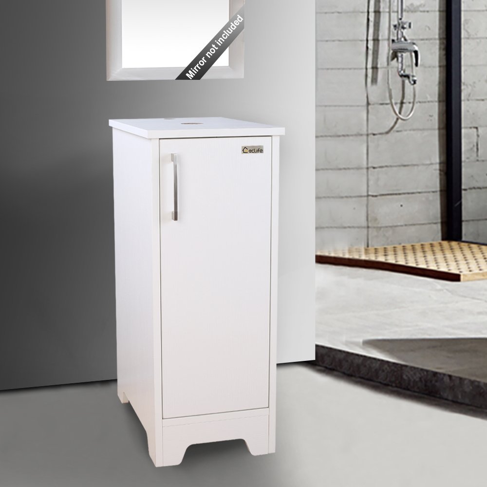 "eclife Bathroom Vanity White 14"" for Small Space, Single MDF Vanity Modern Cabinet Count Top with Adjustable Built-in Clapboard Small Vanity B08W by Eclife (Image #7)"