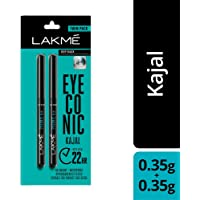 2 X Lakmé Eyeconic Kajal Twin Pack, Black, 0.35g + 0.35g - India