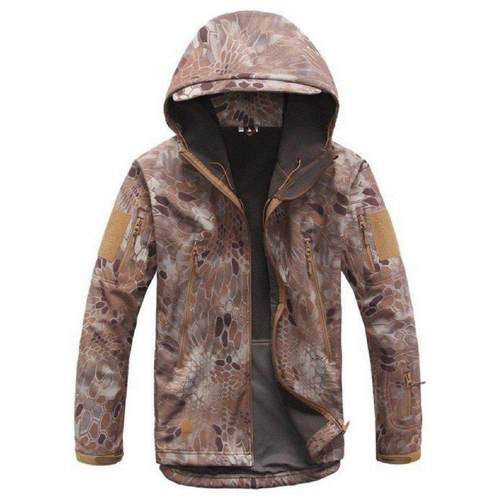 Lurker Shark Skin Softshell Military Tactical Jacket Men Waterproof Coat Khaki Snake XL
