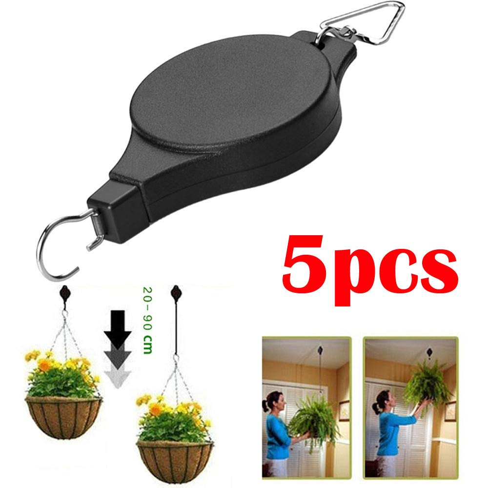 Hot Sale!UMFun 5Pcs Retractable Pulley Hanging Basket Pull Down Hanger Garden Plant Pots Hook Hanger (5Pcs)