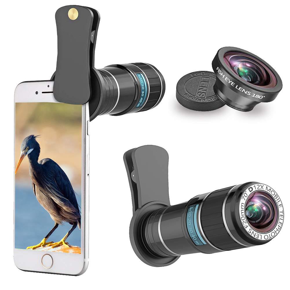 Teléfono lente de la cámara Kit ARORY 12X teleobjetivo lente + ojo de pez compatible para iPhone X / 8 7 Plus / 6S Samsung Galaxy Huawei Android Smartphone: ...