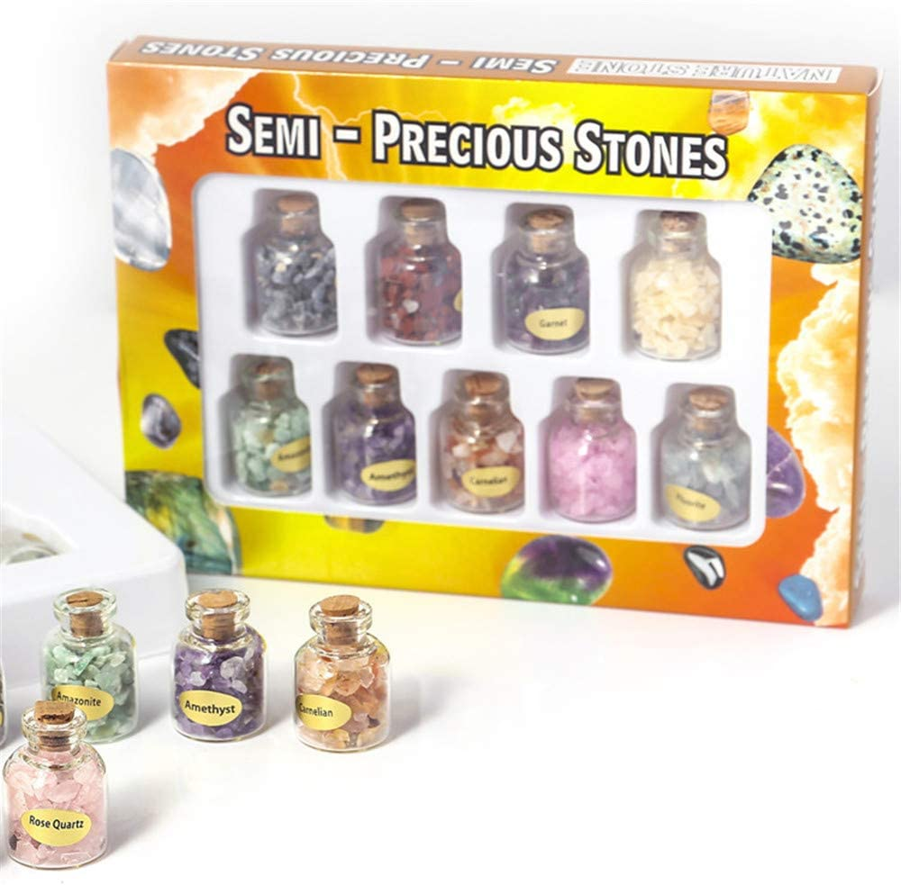LQKYWNA 9 Piezas De Mini Botellas Cristales De Piedras Preciosas Piedras De Cristal Colecci/ón Kit De Cuarzo Natural De Grava Deseando Conjunto De Botella para El Hogar Craft