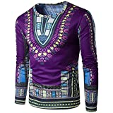 HANYI Men'S National Style Tribal Pattern Printing Long-Sleeved Round Neck T-Shirt (L, Purple-B)