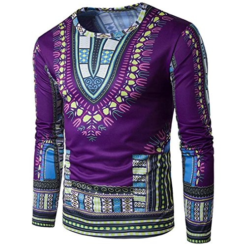 HANYI Men'S National Style Tribal Pattern Printing Long-Sleeved Round Neck T-Shirt (L, Purple-B) by HANYI