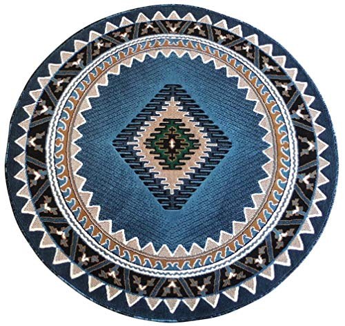 Kingdom Southwest Native American Round Area Rug Blue Green Beige Design D143 (6 Feet 7 Inch X 6 Feet 7 Inch)