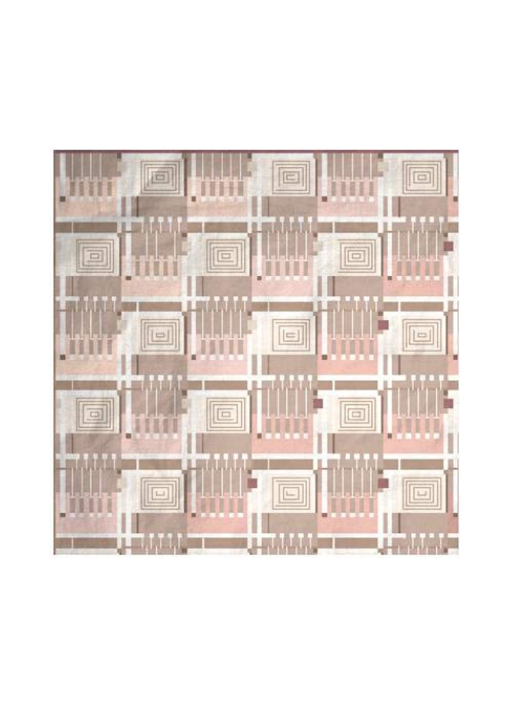 VIDA | Abstract Distortion Fawn Silk Scarf | Original Artwork Designed by Frank Lloyd Wright