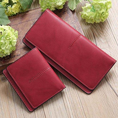 LHWY Mujer Sencillo Retro Monedero largo de Hasp Monedero Portatarjetas Bolso Rojo