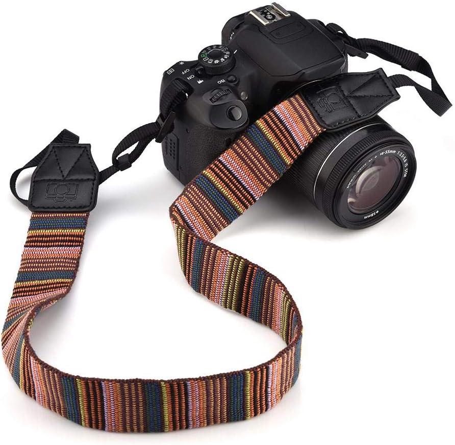 Red + White Polyester Fabric V BESTLIFE 60.6in Camera Shoulder Strap Belt Vintage DSLR Camera Strap Neck with Buckles 4 Colors choosable