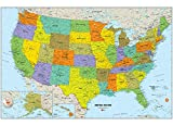 Wall Pops WPE1897 USA Dry Erase Map Decal, Multi-Color