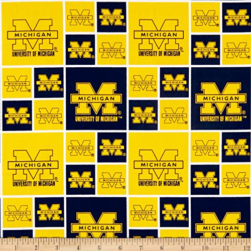 Sykel Enterprises NCAA University of Michigan Squares Blue Fabric by The ()