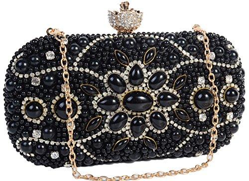 Pulama Luxury Full Rhinestone Bridal Wedding Clutch Womens Evening Handbag Party Prom Purse (Black Beaded Evening Handbag)