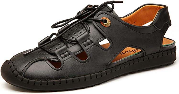 Mens Fisherman Sandals Penny Loafers Leather Closed Toe Outdoor Driving Boat Shoes