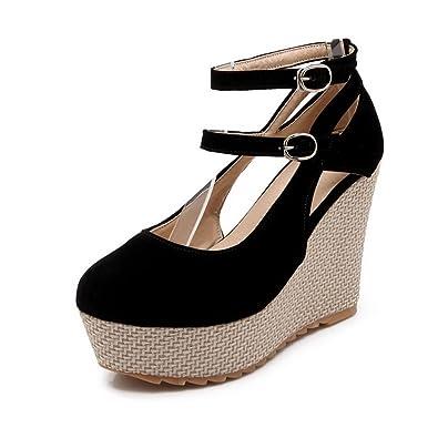 VogueZone009 Damen Mattglasbirne Hoher Absatz Rund Zehe Rein Schnalle Pumps Schuhe