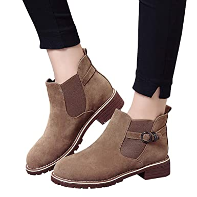 ❤ Botas Cortas de Hebilla de Las Mujeres, Zapatos de Punta Redonda Botines Planos Gamuza de Color sólido Boots Zapatos de Moda Casual Absolute: ...