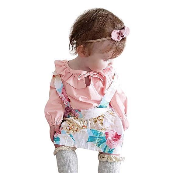 K-youth Conjuntos Bebe Niña Ropa Bebe Niña Invierno Otoño Recién Nacido Niña Volantes Manga Larga Blusas Tops y Estampado de Floral Vestido de Princesa ...
